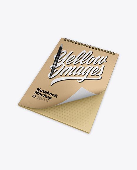 Karft Notebook w/ Pen Mockup
