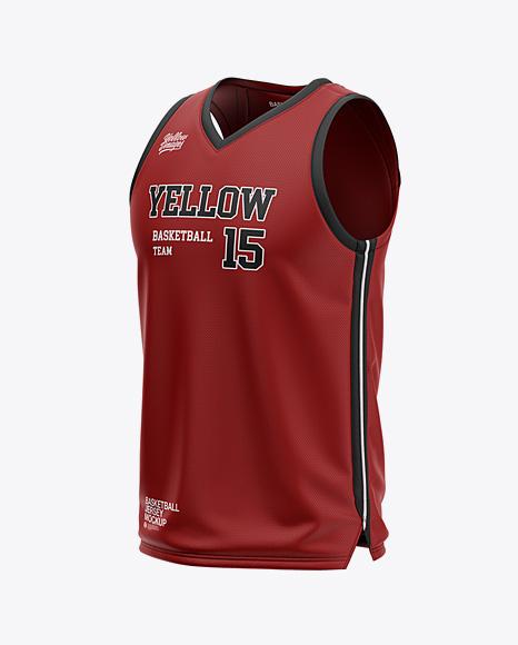 Download Men's V-Neck Basketball Jersey Mockup - Front Half Side ...