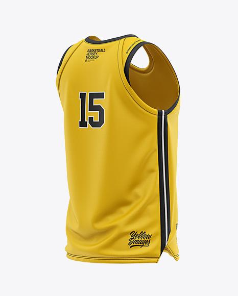 Men's U-Neck Basketball Jersey Mockup - Back Half Side View