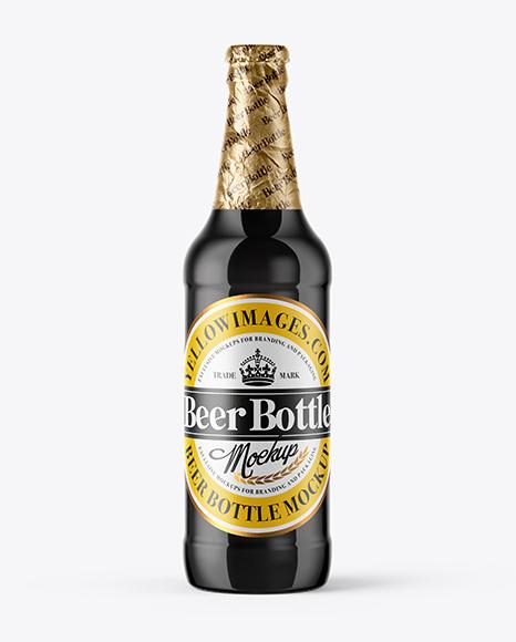 500ml Amber Glass Stout Beer Bottle Mockup