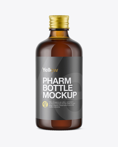 Amber Glass Bottle W/ Aluminium Cap Mockup