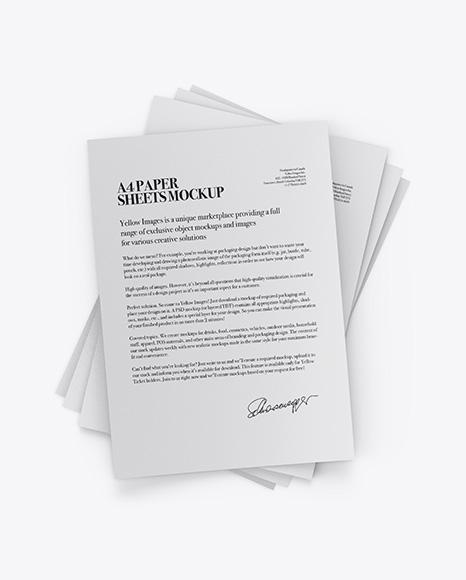 A4 Paper Sheets Mockup