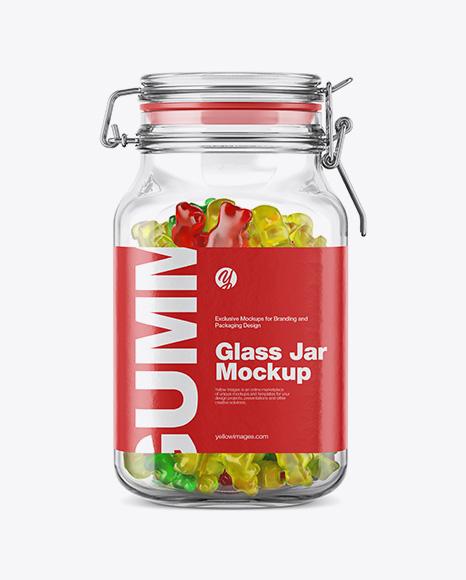 Gummy Bears Glass Jar Mockup