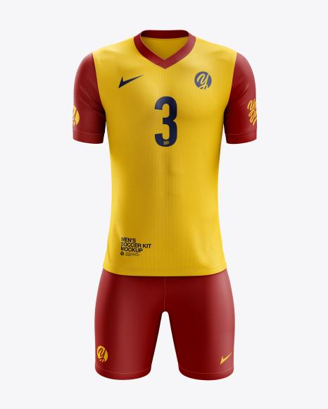 Men's Soccer V-Neck Kit mockup (Front View)