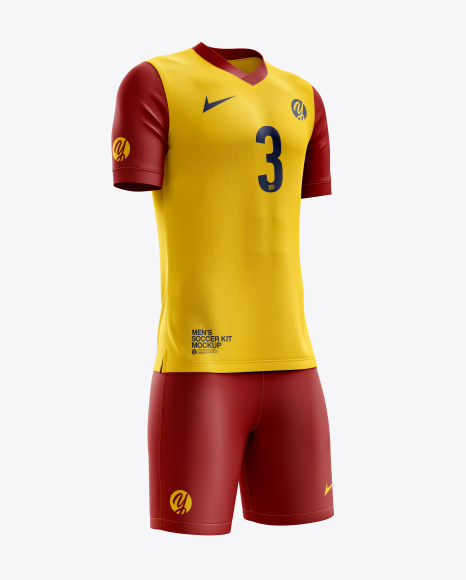 Men's Soccer V-Neck Kit mockup (Half Side View)