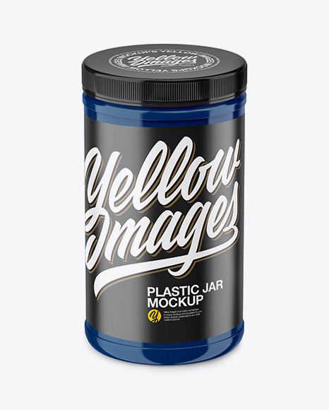 Glossy Plastic Jar Mockup - Front View (High Angle Shot)