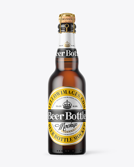 375ml Amber Glass Beer Bottle Mockup