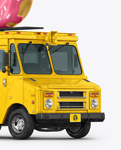 Foodtruck with Donut Mockup - Half Side View