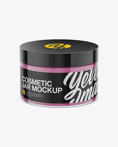 Glossy Cosmetic Jar with Scrub Mockup - High-Angle Shot