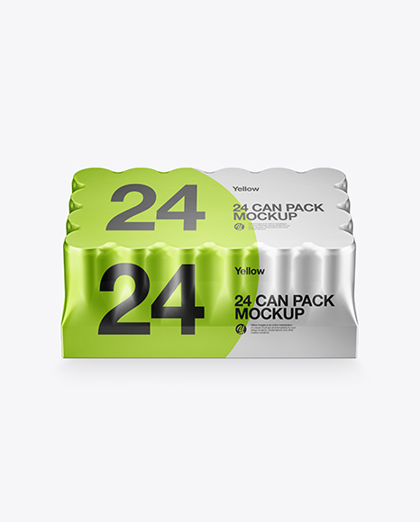 Metallic Pack with 24 Cans Mockup