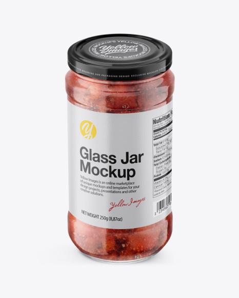 Glass Jar w/ Strawberry Jam Mockup