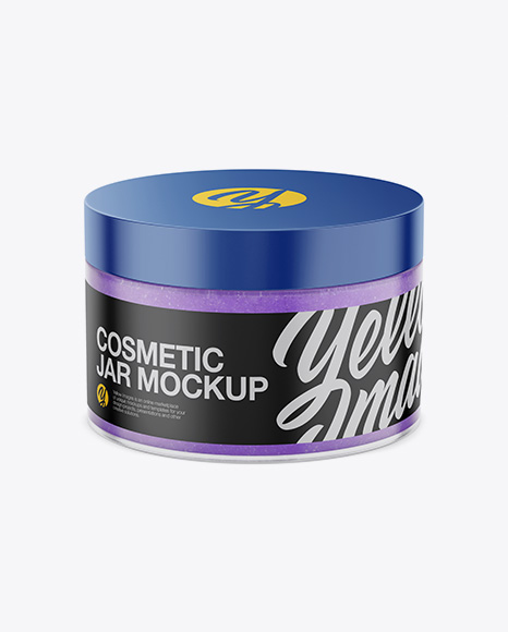 Matte Cosmetic Jar with Scrub Mockup - High-Angle Shot