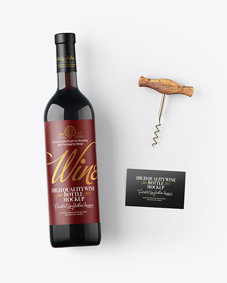 Amber Wine Bottle w/ Corkscrew and Card Mockup