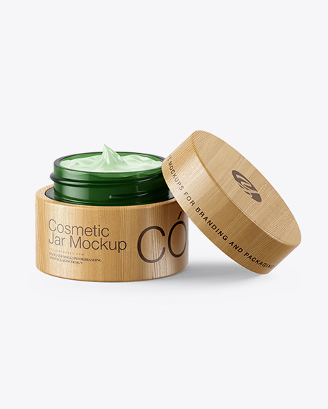 Download Opened Green Glass Cosmetic Jar In Wooden Shell Psd Mockup Yellowimages