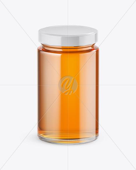 Download Clear Glass Acacia Honey Jar Psd Mockup Yellowimages