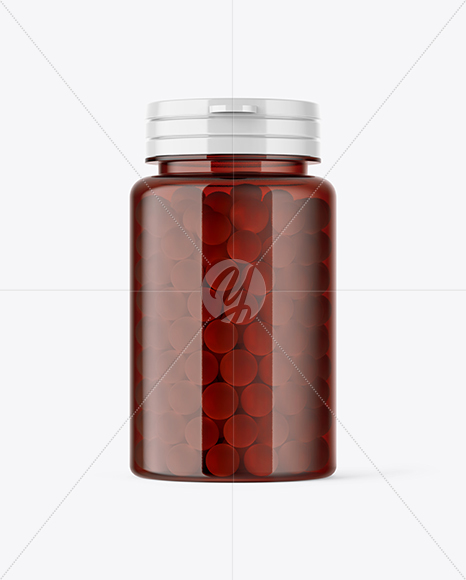 Download Glass Jar With Pills Psd Mockup Yellow Images