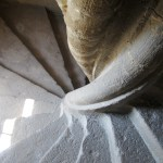 The lovely stone staircase inside the chateau