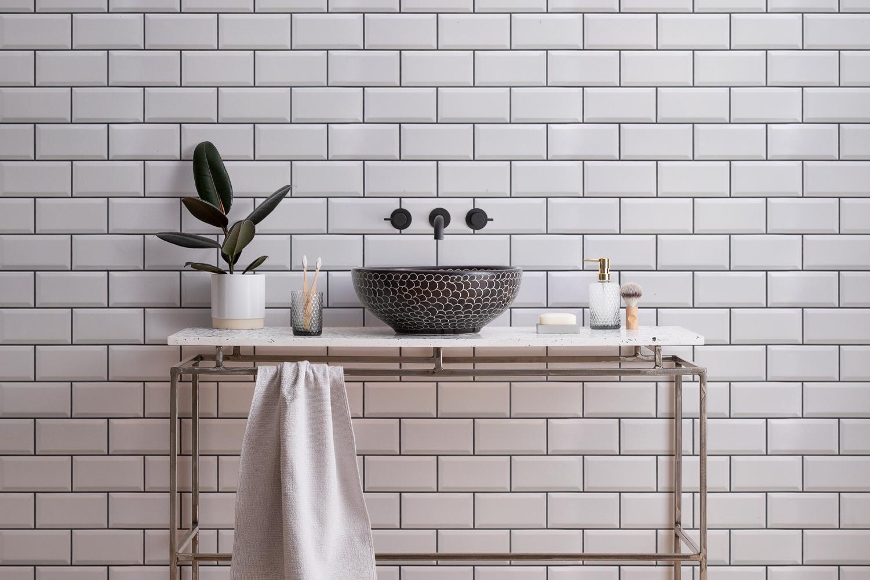 white ceramic subway tile wallpaper mural