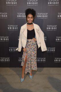 Yara Shahid wears, Topshop Unique Jacket, £245, Top, £19 and Topshop Unique Skirt, £175