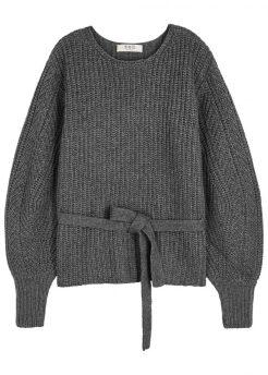 Sea NY, Grey knitted balloon sleeve jumper, £445, Harvey Nichols