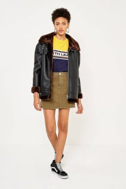 Light Before Dark Faux Leather Shearling Lined Aviator Jacket, £99, Urban Outfitters