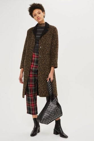 Buttoned Seam Leopard Print Coat, £89, Topshop