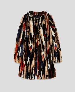 Multicoloured Faux Fur Coat, £95.99, Zara