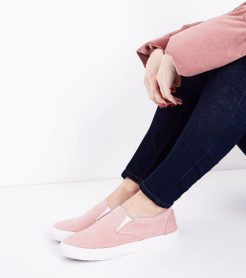 Pink Cord Slip-on Trainers, £16.99, New Look