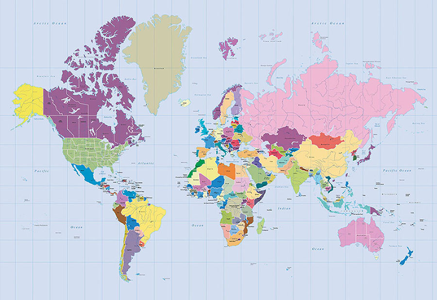 Colourful and vibrant world map design wallpaper mural