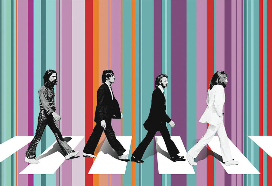 The Beatles Abbey Road colourful wallpaper mural design