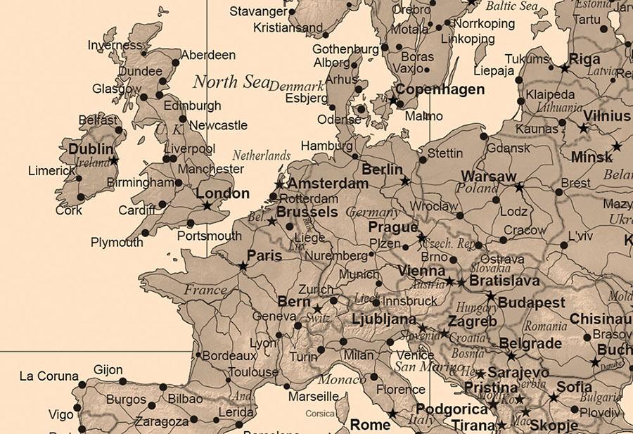 Sepia World Map Wallpaper Mural