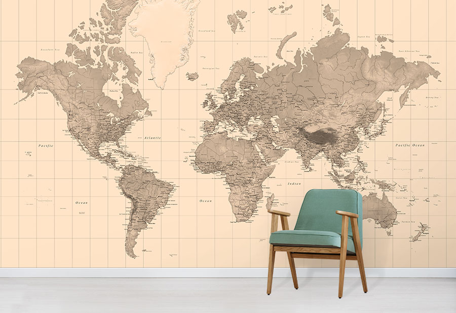 Vintage Sepia World Map Wallpaper Wall Mural Design In Situ With Green Comfy Chair