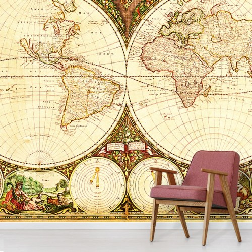 Vintage globe illustration design wallpaper mural in situ with red comfy chair