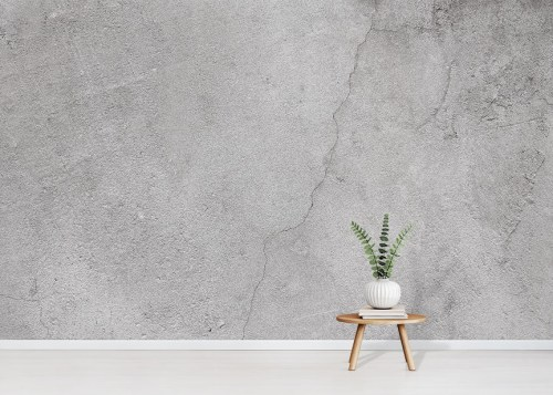 Concrete Wall Wallpaper Mural in situ with small table and plant