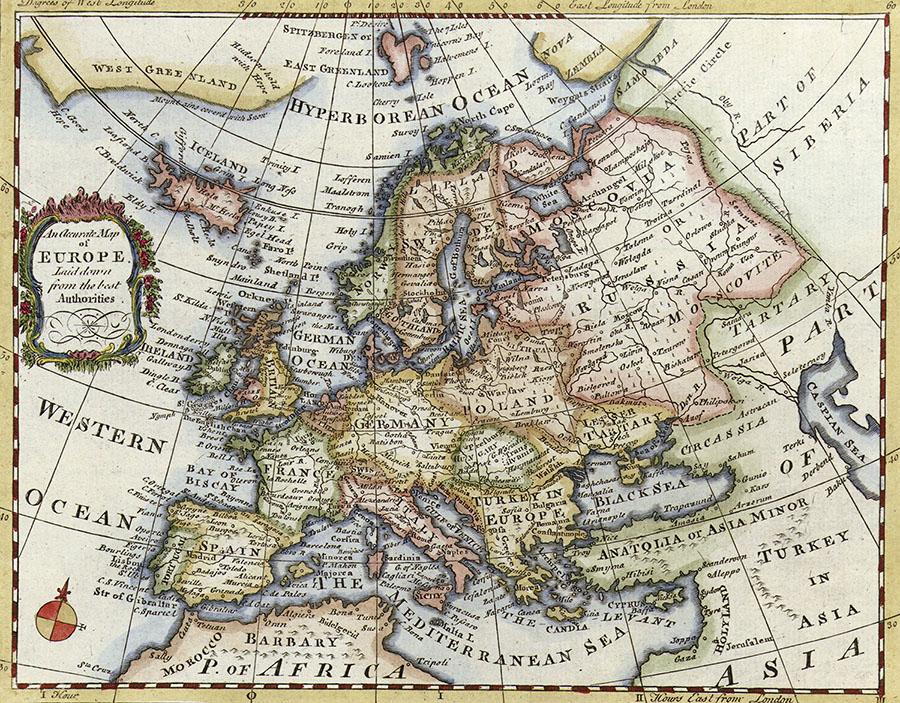 Vintage Europe Map Wall Mural design