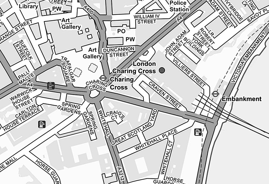 Custom made Ordnance Survey Street Map Wall mural in black and white detail view