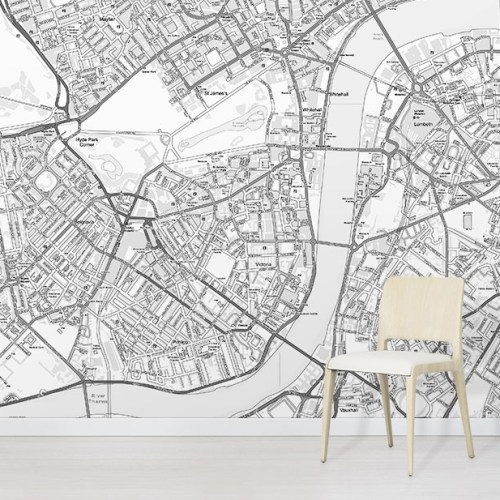 Custom OS Street Map Black and White Wallpaper Mural in situ with white chair