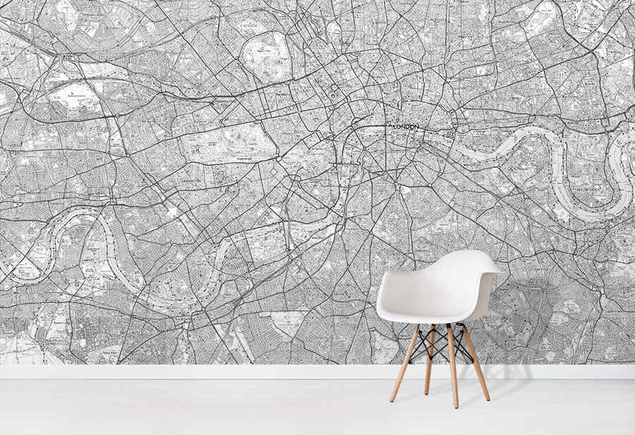 Custom Made OS Explorer Map Wallpaper Mural in situ with white chair