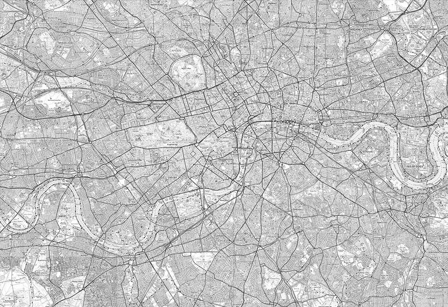 Custom Made OS Explorer Map Wall Mural in Black & White
