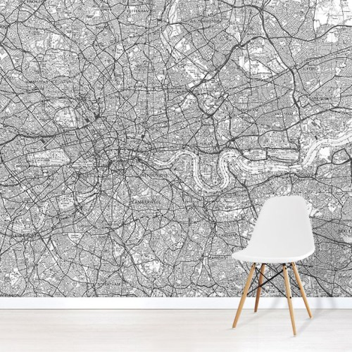 Custom OS Landranger Wall Mural Map in Black & White in situ with white chair