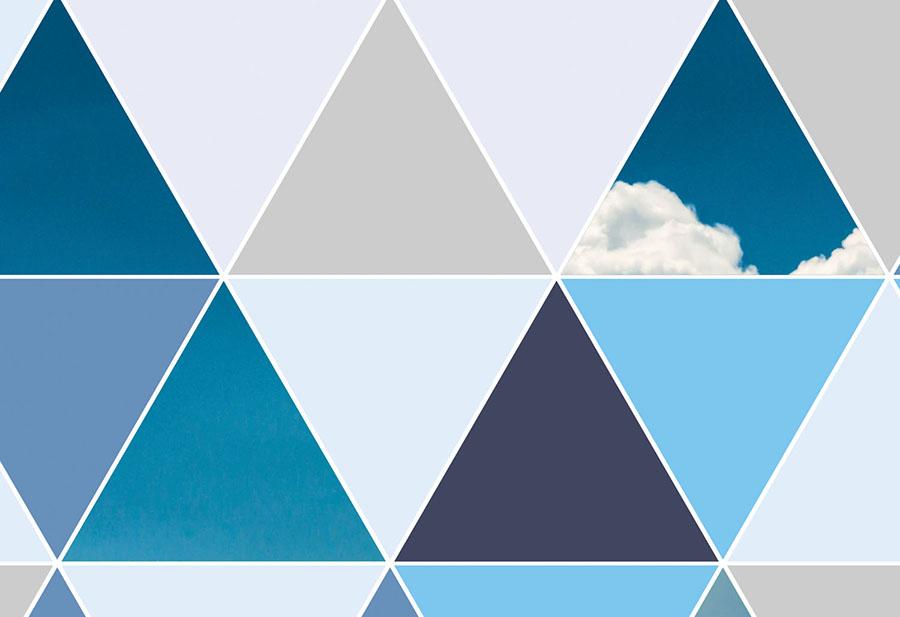 Geometric Triangle Blue Clouds Wallpaper Wall Mural