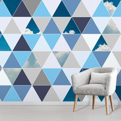 Geometric Blue Clouds Triangle design wallpaper wall mural in situ with comfy chair