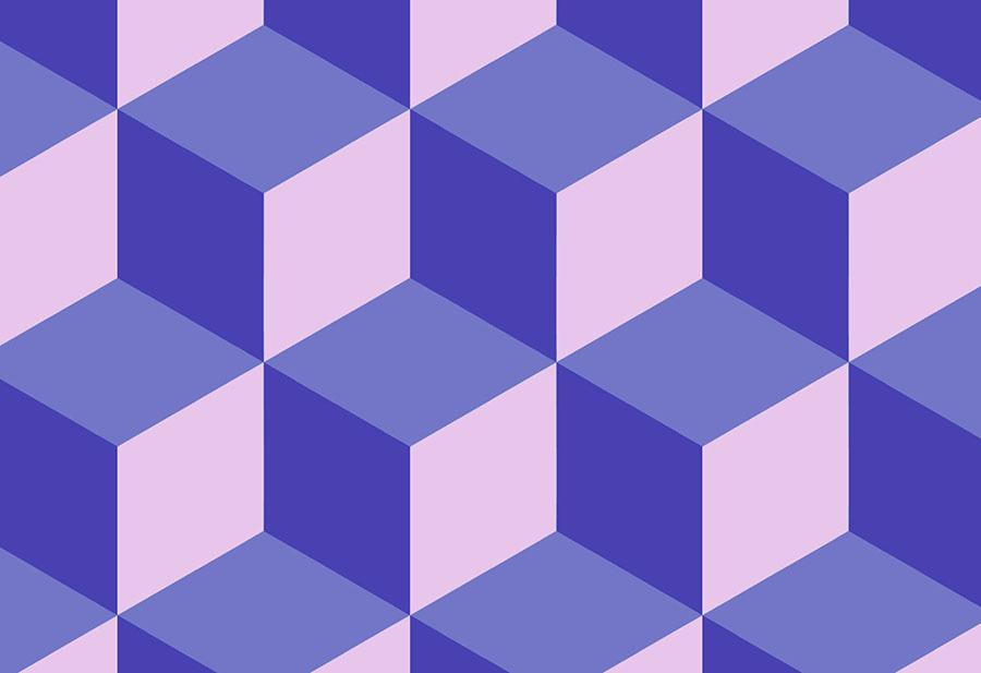 Blue purple geometric cube wallpaper mural