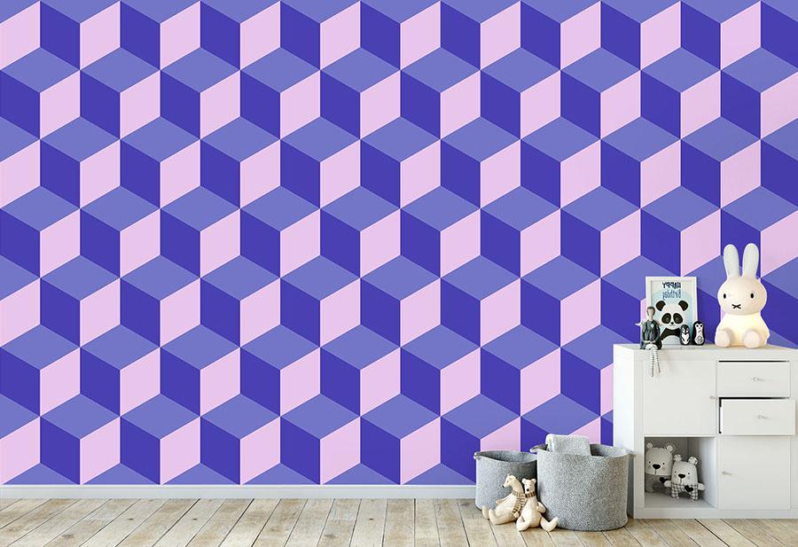 A blue and purple toned geometric cube wallpaper wallpaper mural in situ in kid's bedroom
