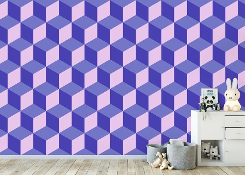A blue and purple toned geometric cube wallpaper wallpaper mural in situ in kid's bedroom
