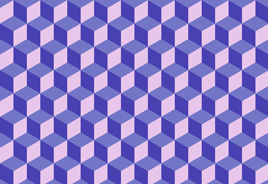 A blue and purple toned geometric cuboid wallpaper wallpaper mural