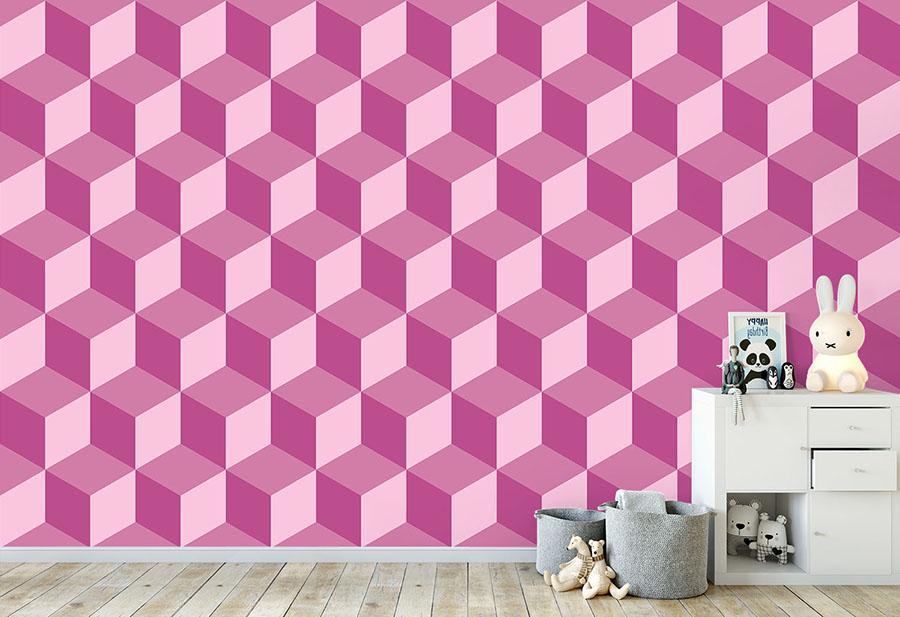 Geo Cube Raspberry Wallpaper Mural in situ in child's bedroom