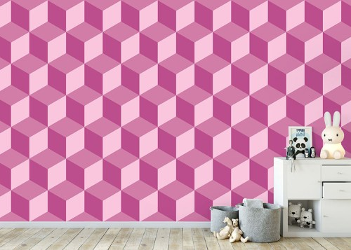 Geo Cube Raspberry Wallpaper Mural in situ in child's bedroom