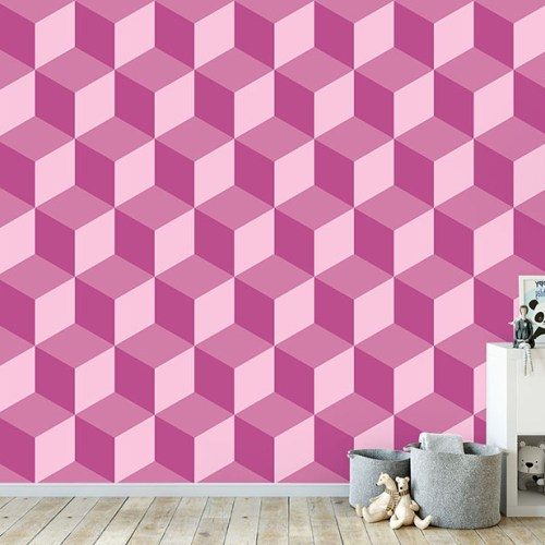Geocube Cube Raspberry Wallpaper Mural in situ in child's bedroom