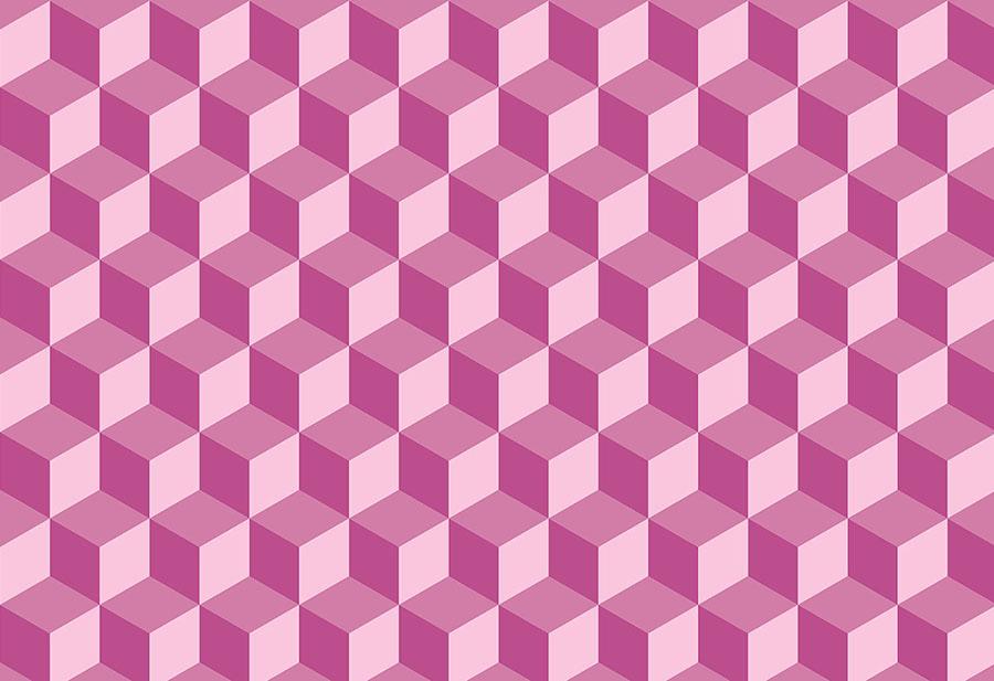 Geo Cube Geometric Design Raspberry Wallpaper Mural